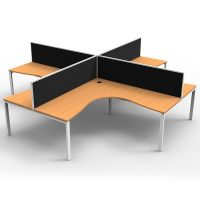 Integral 4 Way Corner Workstation, Beech Tops, with Screen Dividers