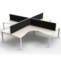Integral 4 Way Corner Workstation, Natural White Tops, with Screen Dividers