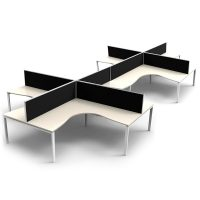 Integral 8 Way Corner Workstation, Natural White Tops, with Screen Dividers