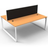Integral Loop Leg 2 Back to Back Desks, Beech Tops with Screen Dividers