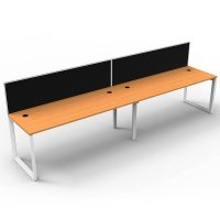 Integral Loop Leg 2 Inline Desks, Beech Top with Screen Dividers