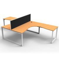 Integral Loop Leg 2 Way Corner Workstation, Beech Tops, with Screen Divider