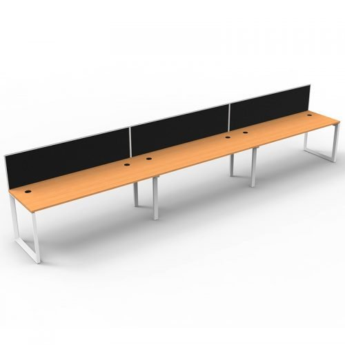 Integral Loop Leg 3 Inline Desks, Beech Top with Screen Dividers