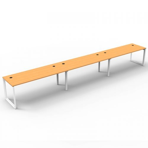 Integral Loop Leg 3 Inline Desks, Beech Tops, No Screen Dividers