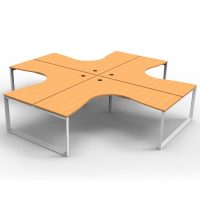 Integral Loop Leg 4 Way Corner Workstation, Beech Tops, No Screen Dividers