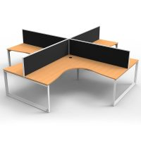 Integral Loop Leg 4 Way Corner Workstation, Beech Tops, with Screen Dividers