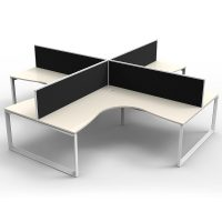 Integral Loop Leg 4 Way Corner Workstation, Natural White Tops, with Screen Dividers