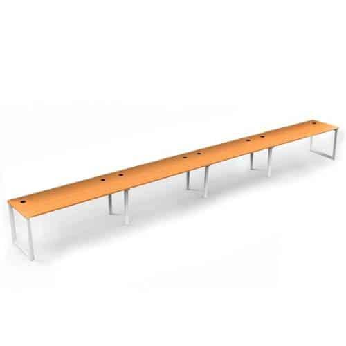 Integral Loop Leg 4 Inline Desks, Beech top