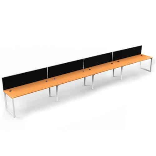 Integral Loop Leg 4 Inline Desks, Beech top with Screen Dividers