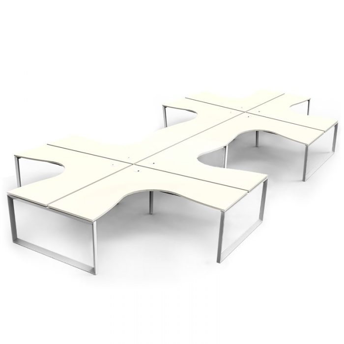 Integral Loop Leg 8 Way Corner Workstation, Natural White Tops, No Screen Dividers