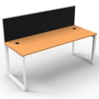 Integral Loop Leg Single Desk, Beech Top with Screen Divider