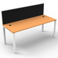 Integral Single Desk, Beech Top with Screen Divider