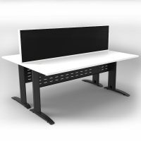 Space System 2 Back to Back Desks, Black Base with Natural White Tops and 1 Integral Express Screen Divider