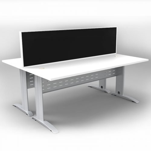 Space System 2 Back to Back Desks, Silver Base with Natural White Tops and 1 Integral Express Screen Divider