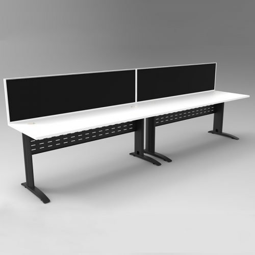 Space System 2 Inline Desks, Black Base with Natural White Tops and 2 Integral Express Screen Dividers