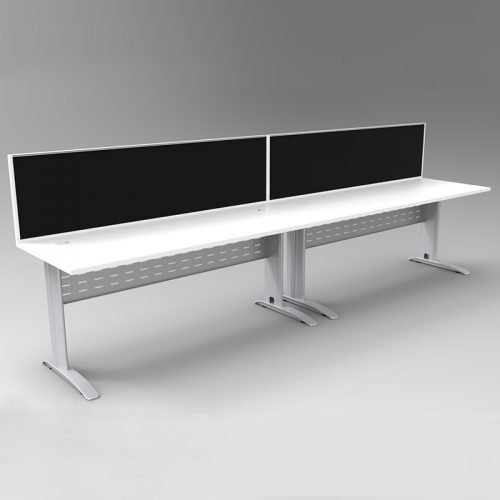 Space System 2 Inline Desks, Silver Base with Parchment (Off-White) Tops and 2 Integral Express Screen Dividers