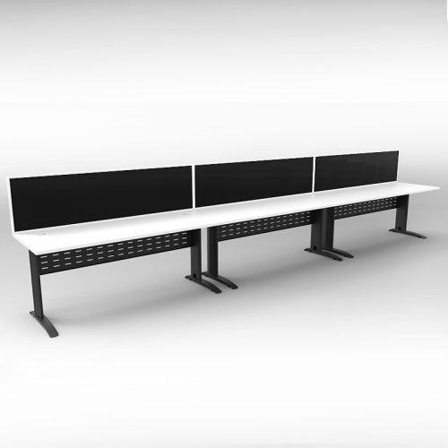 Space System 3 Inline Desks, Black Base with Natural White Tops and 3 Integral Express Screen Dividers