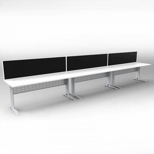 Space System 3 Inline Desks, Silver Base with Natural White Tops and 3 Integral Express Screen Dividers