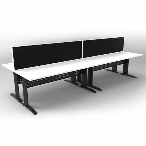 Space System 4 Back to Back Desks, Black Base with Natural White Tops and 2 Integral Express Screen Dividers