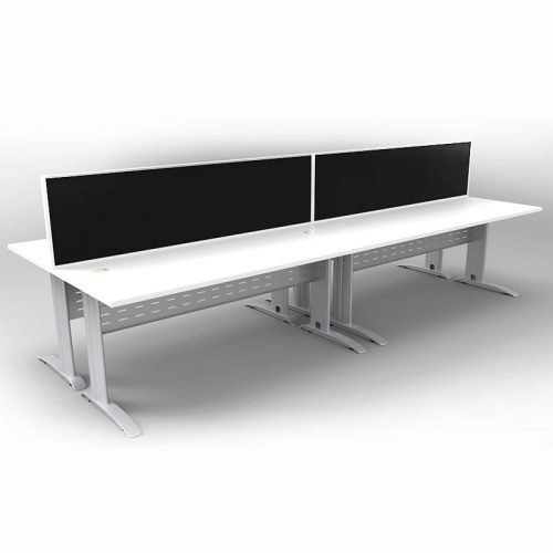 Space System 4 Back to Back Desks, Silver Base with Natural White Tops and 2 Integral Express Screen Dividers