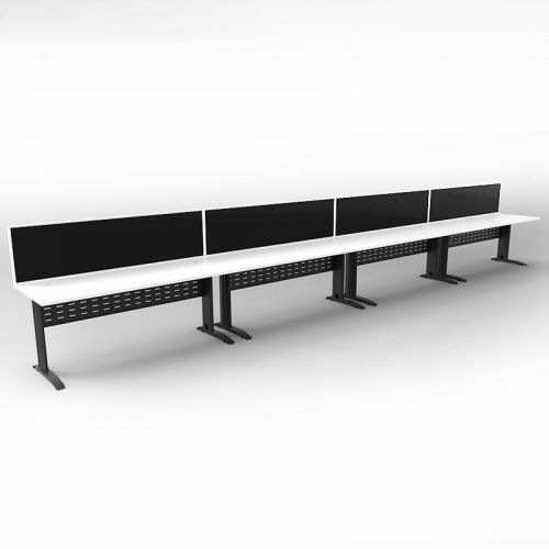 Space System 4 Inline Desks, Black Base with Natural White Tops and 4 Integral Express Screen Dividers