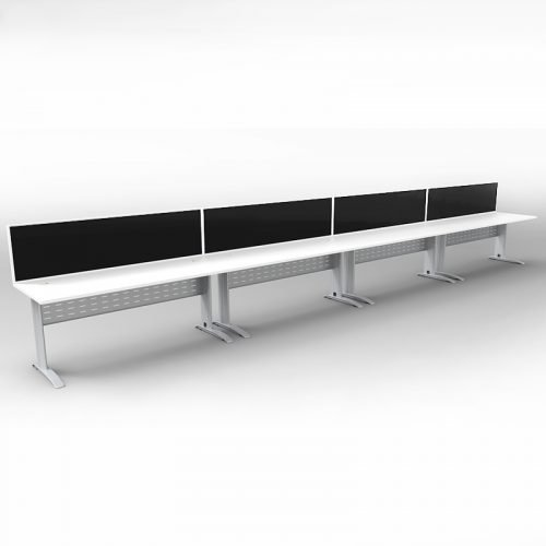 Space System 4 Inline Desks, Silver Base with Natural White Tops and 4 Integral Express Screen Dividers