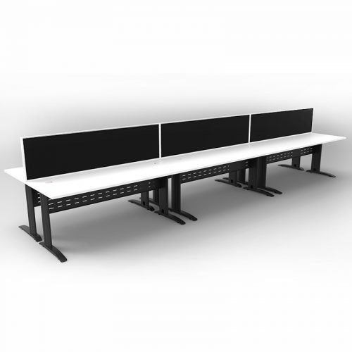 Space System 6 Back to Back Desks, Black Base with Natural White Tops and 3 Integral Express Screen Dividers