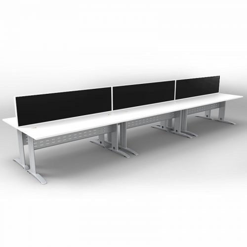 Space System 6 Back to Back Desks, Silver Base with Natural White Tops and 3 Integral Express Screen Dividers