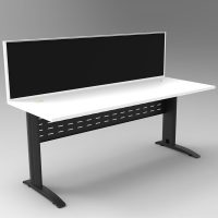 Space System Desk, Black Base with Natural White Top and Integral Express Screen Divider