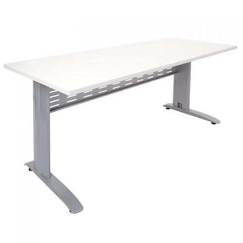 Space System Desk, Natural White Desk Top Silver Base