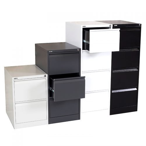 Super Strong Vertical Filing Cabinet Colours - Silver Grey, Graphite Ripple, White and Black Ripple