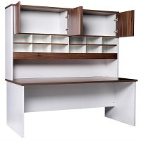 Aspect Sliding Door Credenza and Hutch with Doors - Open