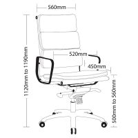 Elite High Back Chair, Dimensions