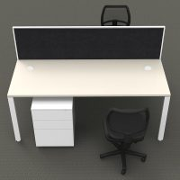 Integral 2 Back to Back Desk Pod with Screen Divider, 2 Stradbroke Mesh Back Chairs and 2 Super Strong Metal Mobile Drawer Unit Package, Front View