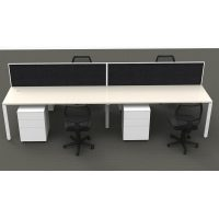 Integral 4 Back to Back Desk Pod with Screen Dividers, 4 Stradbroke Mesh Back Chairs and 4 Super Strong Metal Mobile Drawer Unit Package, Front View