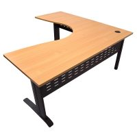 Space System Corner Workstation, Beech Desk Top, Black Base