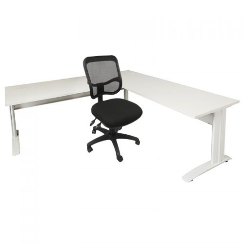 Stradbroke Mesh Back Chair, Space System Desk and Attached Return Package