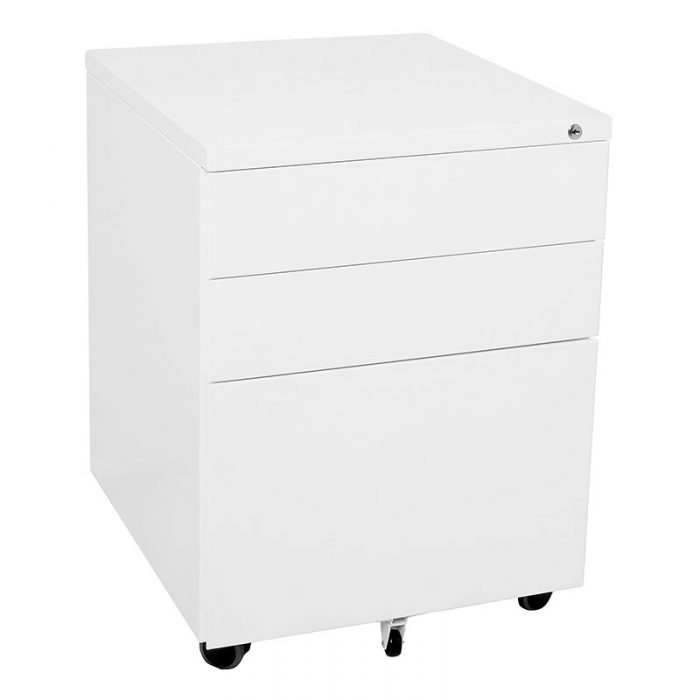 Super Strong Metal Mobile Drawer Unit, Standard Width, White