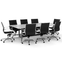 Tessa 2400mm x 1200mm Meeting Table and 8 Heron Medium Back Chairs (alternative chairs shown in the image)