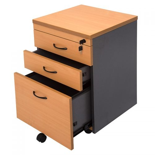 Function Mobile Drawer Unit, 2 Personal + 1 Deep File Drawer, Beech and Ironstone Colours