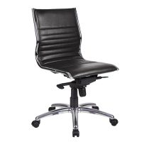 Aria Medium Back Chair, Black Leather