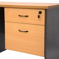 Function Fixed Drawer Unit, 1 Personal + 1 Deep File Drawer, Beech and Ironstone Colours