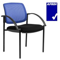 Gamma Visitor Chair Black 4 Leg Frame with Arms, Blue Mesh Back