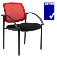 Gamma Visitor Chair Black 4 Leg Frame with Arms, Red Mesh Back
