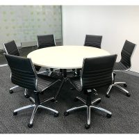Round Meeting Table with Black Aria Medium Back Chairs