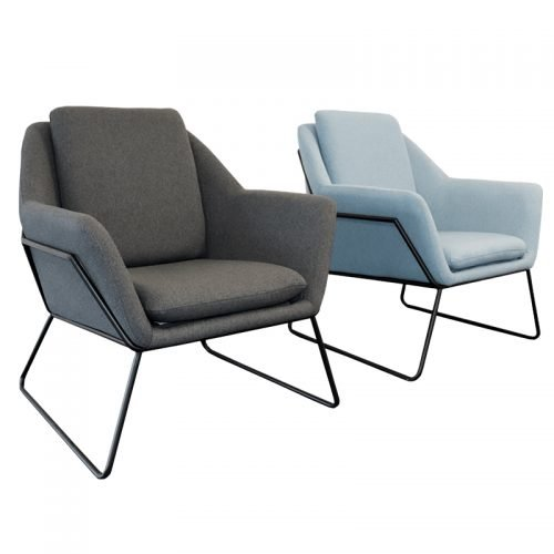 Arrow Chairs, Charcoal and Blue, Angle View