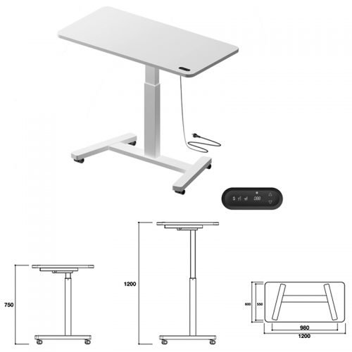 Personal Portable Electric Height Adjustable Desk with Dimensions