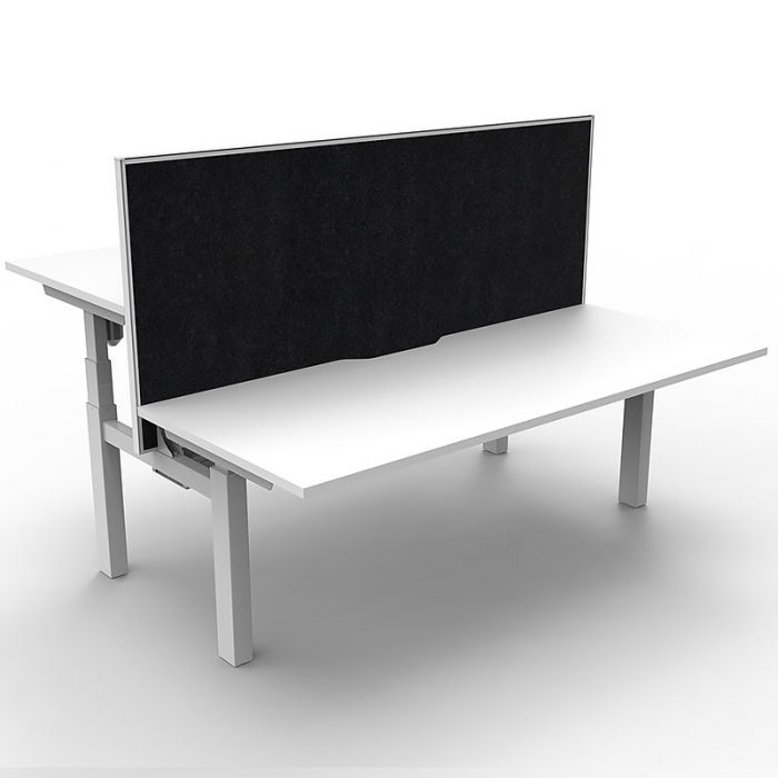 Cali Height Adjustable Double Sided Desk, Natural White Desk Top, White Frame, with Black Screen Divider - Copy
