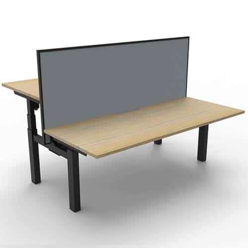 Cali Height Adjustable Double Sided Desk, Natural Oak Desk Top, Black Frame, with Grey Screen Divider