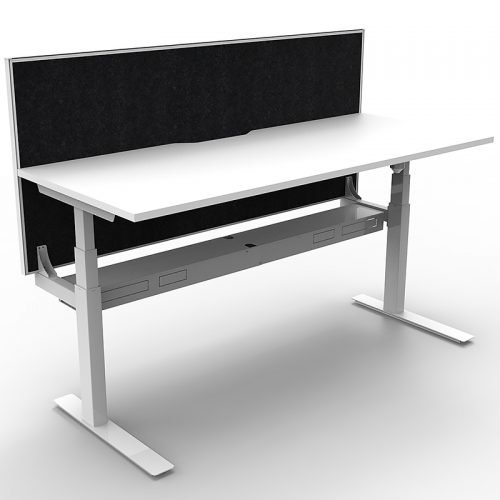 Cali Height Adjustable Single Sided Desk, Natural White Desk Top, White Frame, with Black Screen Divider